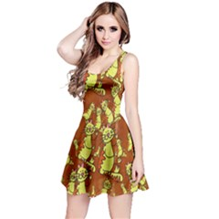Cartoon Grunge Cat Wallpaper Background Reversible Sleeveless Dress