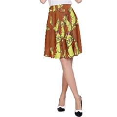 Cartoon Grunge Cat Wallpaper Background A Line Skirt
