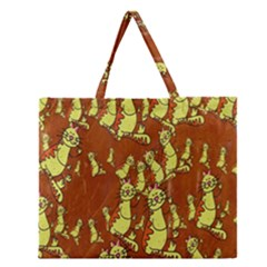 Cartoon Grunge Cat Wallpaper Background Zipper Large Tote Bag