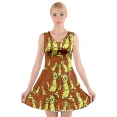Cartoon Grunge Cat Wallpaper Background V-Neck Sleeveless Skater Dress