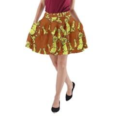 Cartoon Grunge Cat Wallpaper Background A-Line Pocket Skirt