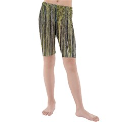 Bamboo Trees Background Kids  Mid Length Swim Shorts