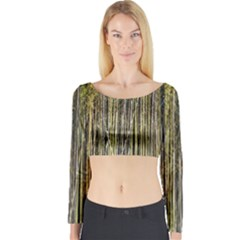 Bamboo Trees Background Long Sleeve Crop Top