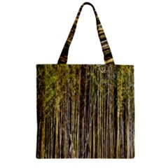 Bamboo Trees Background Zipper Grocery Tote Bag