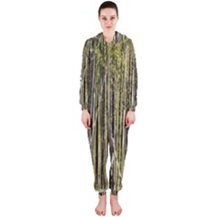 Bamboo Trees Background Hooded Jumpsuit (Ladies)