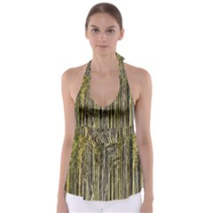 Bamboo Trees Background Babydoll Tankini Top