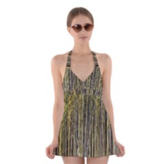 Bamboo Trees Background Halter Swimsuit Dress
