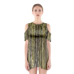 Bamboo Trees Background Shoulder Cutout One Piece