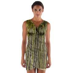 Bamboo Trees Background Wrap Front Bodycon Dress