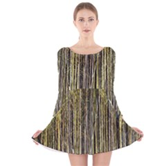 Bamboo Trees Background Long Sleeve Velvet Skater Dress