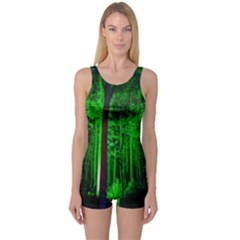 Spooky Forest With Illuminated Trees One Piece Boyleg Swimsuit