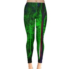 Spooky Forest With Illuminated Trees Leggings