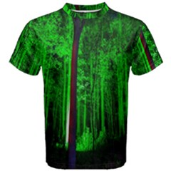 Spooky Forest With Illuminated Trees Men s Cotton Tee