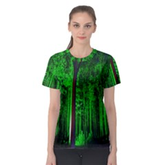 Spooky Forest With Illuminated Trees Women s Sport Mesh Tee