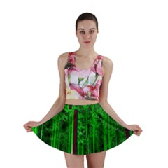 Spooky Forest With Illuminated Trees Mini Skirt