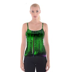 Spooky Forest With Illuminated Trees Spaghetti Strap Top