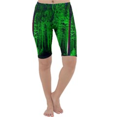 Spooky Forest With Illuminated Trees Cropped Leggings