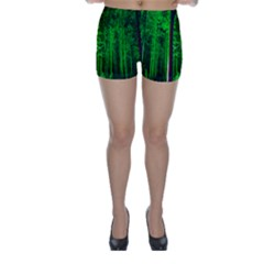 Spooky Forest With Illuminated Trees Skinny Shorts