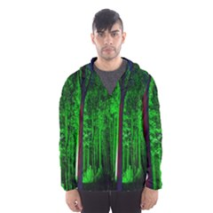 Spooky Forest With Illuminated Trees Hooded Wind Breaker (Men)