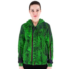 Spooky Forest With Illuminated Trees Women s Zipper Hoodie