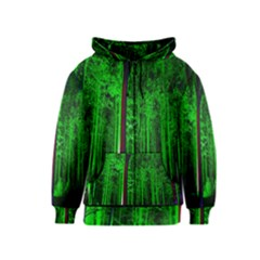Spooky Forest With Illuminated Trees Kids  Zipper Hoodie