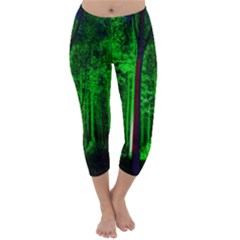 Spooky Forest With Illuminated Trees Capri Winter Leggings