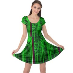 Spooky Forest With Illuminated Trees Cap Sleeve Dresses