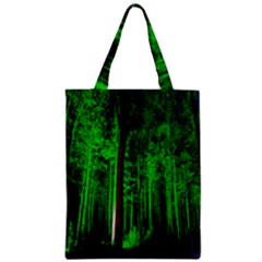 Spooky Forest With Illuminated Trees Zipper Classic Tote Bag