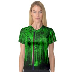 Spooky Forest With Illuminated Trees Women s V-Neck Sport Mesh Tee