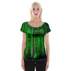 Spooky Forest With Illuminated Trees Women s Cap Sleeve Top