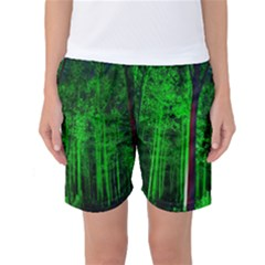 Spooky Forest With Illuminated Trees Women s Basketball Shorts