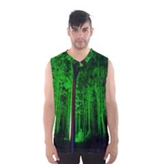 Spooky Forest With Illuminated Trees Men s Basketball Tank Top