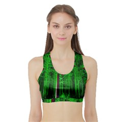 Spooky Forest With Illuminated Trees Sports Bra With Border