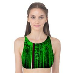 Spooky Forest With Illuminated Trees Tank Bikini Top