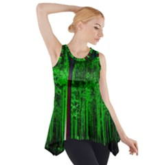 Spooky Forest With Illuminated Trees Side Drop Tank Tunic