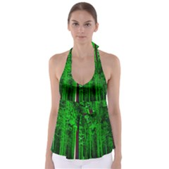 Spooky Forest With Illuminated Trees Babydoll Tankini Top