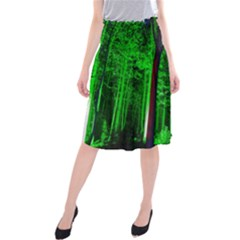 Spooky Forest With Illuminated Trees Midi Beach Skirt