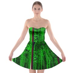 Spooky Forest With Illuminated Trees Strapless Bra Top Dress
