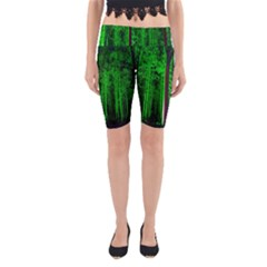 Spooky Forest With Illuminated Trees Yoga Cropped Leggings