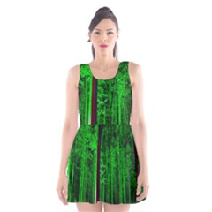 Spooky Forest With Illuminated Trees Scoop Neck Skater Dress