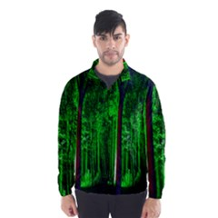 Spooky Forest With Illuminated Trees Wind Breaker (Men)