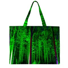 Spooky Forest With Illuminated Trees Large Tote Bag