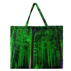 Spooky Forest With Illuminated Trees Zipper Large Tote Bag