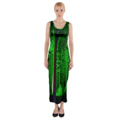 Spooky Forest With Illuminated Trees Fitted Maxi Dress