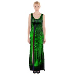 Spooky Forest With Illuminated Trees Maxi Thigh Split Dress