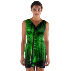 Spooky Forest With Illuminated Trees Wrap Front Bodycon Dress