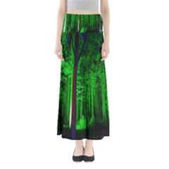 Spooky Forest With Illuminated Trees Maxi Skirts