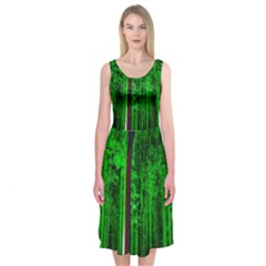 Spooky Forest With Illuminated Trees Midi Sleeveless Dress