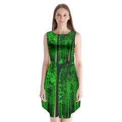Spooky Forest With Illuminated Trees Sleeveless Chiffon Dress