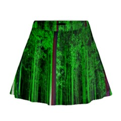 Spooky Forest With Illuminated Trees Mini Flare Skirt